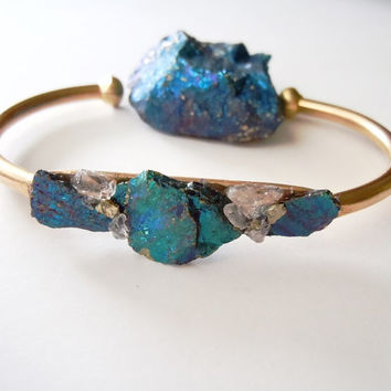 Raw Stone Bracelet - Inlaid - Peacock Ore Minerals - Bohemian Chic