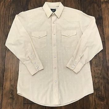 Roper Western Beige on Beige Horseshoe Print Pearl Snap Button Up Shirt Mens M/L