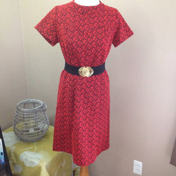 Handmade Dress Vintage 1960s Polyester Short Sleeve Shift Dress