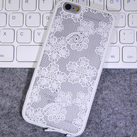 Womens Vintage White Lace iPhone 5S 6 6S Plus Case Solid Cover + Nice Gift Box 445