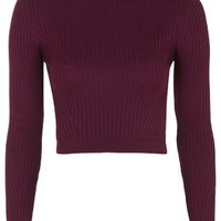 PETITE Ribbed Cropped Jumper - Berry Red