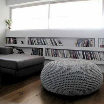 Giant Pouf Ottoman-Large Round Ottoman-Giant Floor Pillow-Round Floor Pouf-Oversized Bean Bag Chair-Knit Pouffe-Floor Cushion-Crochet Pouf
