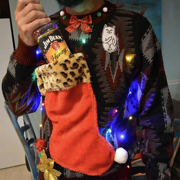 Wine Holder Ugly Christmas Sweater, Light up, MENS LARGE, Angry cat middle finger, stocking, alcohol, wine, novelty, jumper, one of a kind