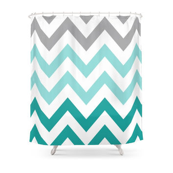 Society6 TEAL FADE CHEVRON Shower Curtains