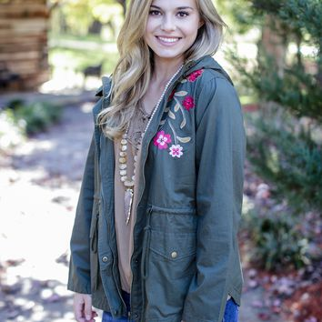 Embroidered Hooded Jacket, Olive