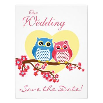 cute owl wedding save the date custom invitations from Zazzle.com