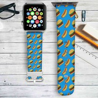 Burgers Collage Custom Apple Watch Band Leather Strap Wrist Band Replacement 38mm 42mm