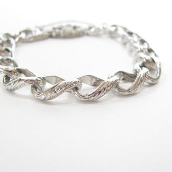 Vintage Silver Bracelet - Signed Monet Silver Tone Link Bracelet - Safety Chain - Etched Design