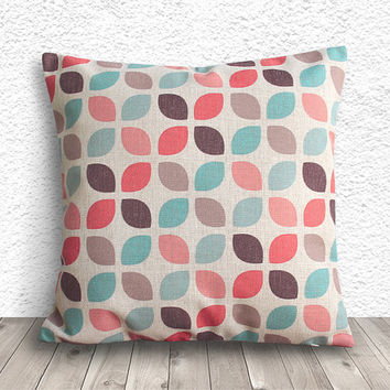 Geometric Pillow Cover, Pillow Cover, Fuschia Pillow Cover, Linen Pillow Cover, 18x18 - Printed Geometric - 027