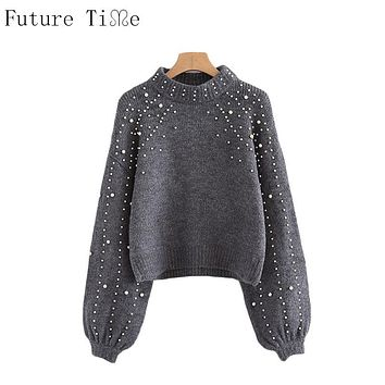Future Time Pearl Beaded Rib Knit Jumper Winter Womens Pullover Sweaters Grey Stand Collar Long Sleeve Tight Sweater MY207