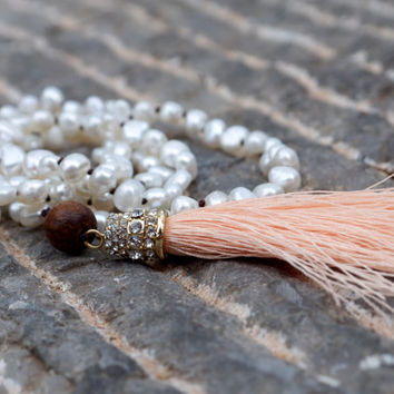 White pearl bohemian mala necklace Pale apricot boho beaded knotted Pretty pastel peach rhinestone pave tassel necklace Boho glam jewellery