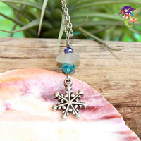 Sea Glass Jewelry from Hawaii, Snowflake necklace for winter & Christmas season by Mermaid Tears