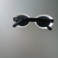 Original Vintage 80's Kitsch White (Black Temples) Cat Eyes Sunglasses