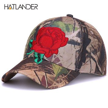 Embroidery floral baseball caps for men women sun hats fitted adjustable outdoor sports cap