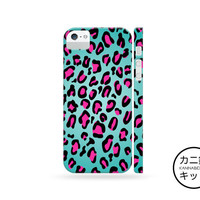Pink Teal Leopard Print Design Case「 iPhone 6 5 5S 5C 4 4S iPod Touch Nano 7 Galaxy S5 S4 S3 Note 1 2 3 」
