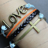 Bracelet-cross bracelet-love bracelet-blue rope,orange rope, black braided bracelet