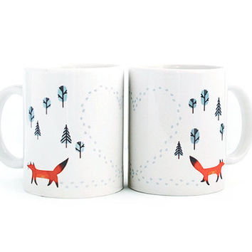Heart Shaped Fox Tracks Mug