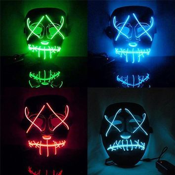 The Purge Movie EL Wire DJ Party Festival Halloween Costume LED Mask HQ New Accessories Adults maskeren dropshipping S18#N
