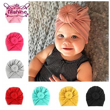 ff89b9d781b Nishine Baby Turban Hat with Bow Children Hat Cotton Blend Newbo