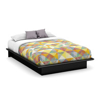 Queen Size Contemporary Platform Bed Frame in Black Wood Finish