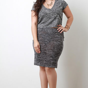 Plus Size Marled Knit Skirt