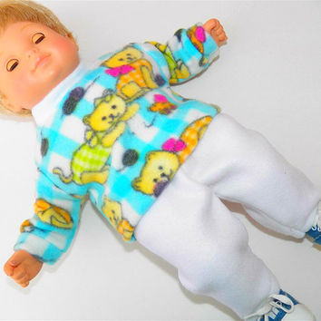 American Girl Bitty Baby Clothes  15 inch Doll Clothes Mint Turquoise Blue Yellow Kitty Kitten Cat Sweatshirt & Polar Fleece White Pants