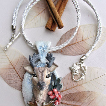 Unique winter necklace with the deer - Handmade - Jewelry - Best gift  - Nature -Secrets of the winter forest