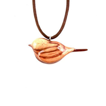 Bird Pendant, Bird Necklace, Wooden Bird Necklace, Wooden Bird Pendant, Carved Bird Pendant, Bird Jewelry, Wood Necklace, Wood Jewelry