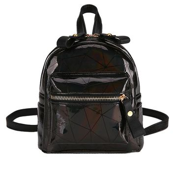 School Backpack trendy 2018 women laser backpack daypacks girl school bag female Black Pink pu leather holographic bags mochila Backpacks Casual Bag#10 AT_54_4