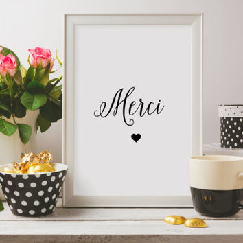 Paris Print,Wall Art,Merci Decor,French Country,French Decor,Merci Print,French Art,Thank You Decor,French Wall Art,French Poster