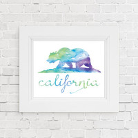 Printable California state flag watercolor print. California Watercolor Print. Los Angeles Home wall art Apartment wall art. Gift for teens.