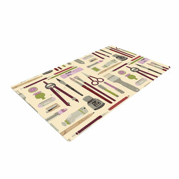 "Judith Loske ""Art Supplies"" Tan Pattern Woven Area Rug"