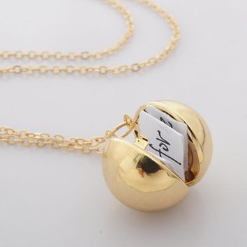 New Hot Secret Message Ball Locket Necklace DIY Handmade Friendship Best Friend Pendant Necklace Women Men Girl Gifts Jewelry
