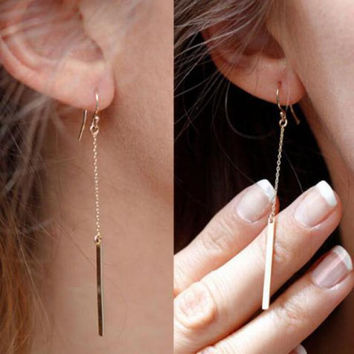 Gold Bar Tassel Earrings Jewelry Gold Plated Long Pendant Earring Chain