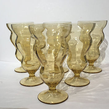 Vintage Footed Amber Glass Parfait or Water Glasses, Set 6 Mid Century Sundae or Soda Glasses, Amber Fountain Glasses, Federal Lido Pattern