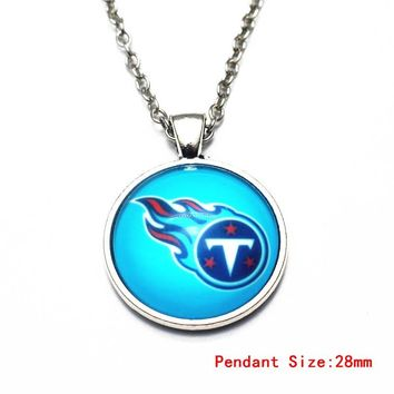 3pcs/lot 20 Inch Chains Necklace Star Tennessee Titans Glass Pendant Necklace For Women Football Dangle Charms DIY Jewelry