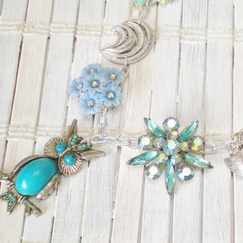 Turquoise Blue Owl Statement Necklace by RetroRevivalBoutique