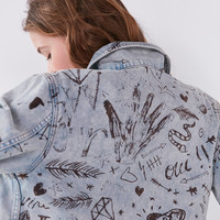 BDG Boyfriend Denim Graffiti Trucker Jacket | Urban Outfitters