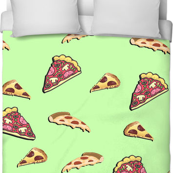 Pizza at light green all-over-print duvet cover, yummy fastfood themed bedroom