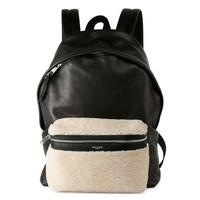 Saint Laurent Shearling Front Pocket Leather Backpack