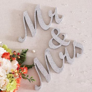 1 Set Gold Silver Glitter Mr & Mrs Letter Wedding Props Alphabet Ornaments Letters Table Decoration Crafts Sweetheart Decor S30