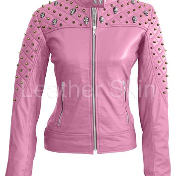 Leather Skin Women Pink Spike Skeleton Studs Genuine Leather Jacket
