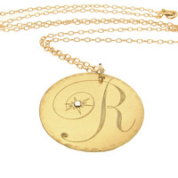 Monogram Engraved Script Letter / Gold Initial Pendant Women necklace