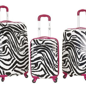 F195-PINKZEBRA 3Pc Safari Polycarbonate/Abs Upright Luggage Set