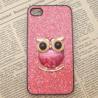 Steampunk Owl Red bling glitter hard case For Apple iPhone 4 case iPhone 4s case cover