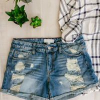 Distressed Boyfriend Shorts- Dark
