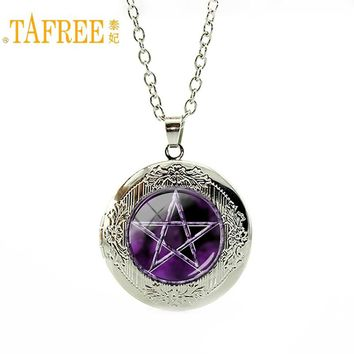 TAFREE Best selling purple Pentagram Wicca Pendant Japan Wiccan Jewelry Occult Charm necklace Glass Cabochon locket pendant N695