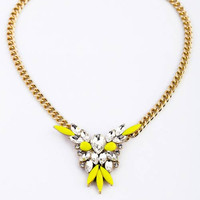 Shorouk Style Chunky Pendant Necklace Yellow and Clear Stones