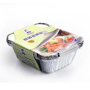 5Pcs/Set Kitchen Baking Barbecue Aluminum Foil Trays Disposable Food Container Bowls Baking Pan Kitchenware BBQ Tools #242917