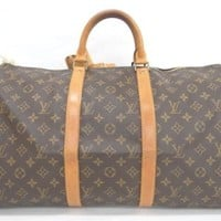 Auth Louis Vuitton Boston Hand Bag Keepall 50 Monogram Brown 20140188900 vG